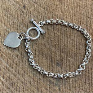 Jewelry - 925 Sterling Silver Heart Toggle Bracelet
